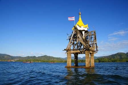 Temple underwater ,Kanchanaburi Stock Photo - 6832287