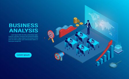 business analysis concept with character. creative interactive workspace, development workplace. Infographic of analysing strategy engine. flat design isometric