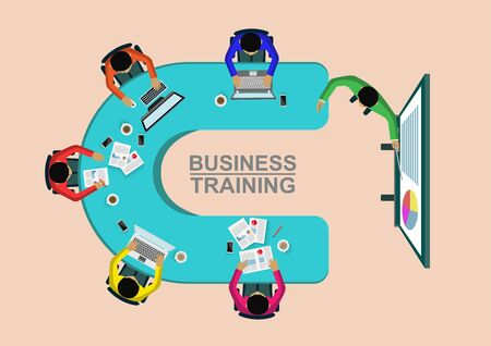 Business training concept. Corporate staff training. business meeting and Planning decisions show top view. illustration cartoon vector