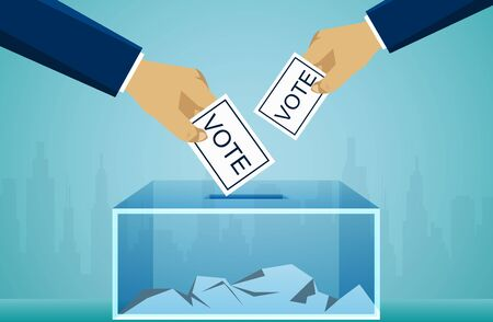 Hand holding election vote ballot in ballot box. voting political concept. illustration cartoon vector  イラスト・ベクター素材