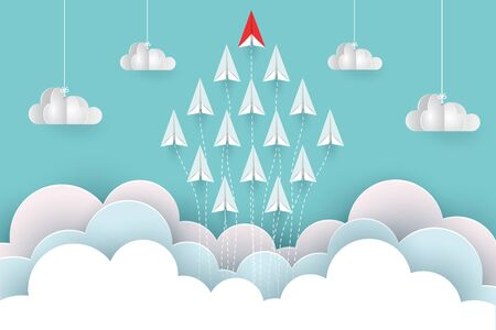 paper airplane red and white are fly up to the sky between cloud natural landscape go to target. startup. leadership. concept of business success. creative idea. illustration vector cartoon Illustration