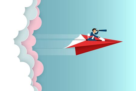 businessman sit on paper plane hold binoculars forward fly on sky go to success goal. business finance concept. creative idea. startup. illustration cartoon vector