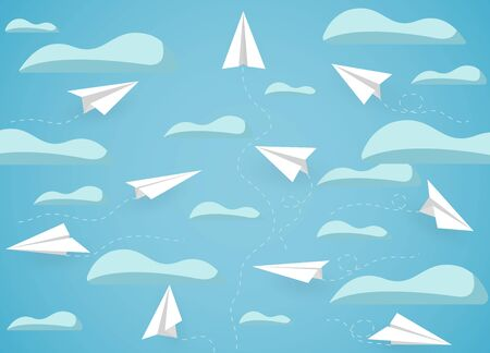 paper plane white competition charged up to the sky while flying above a cloud. business finance success. leadership. creative idea. startup. illustration cartoon vector