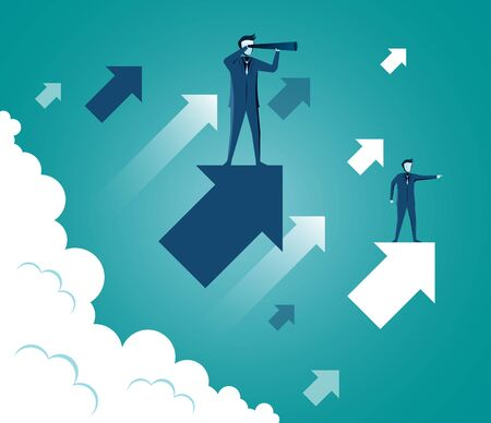 Businessmen standing holding binoculars standing on arrow up to the sky while above a cloud. go to success goal. searching for opportunities. business concept . startup. illustration cartoon vector