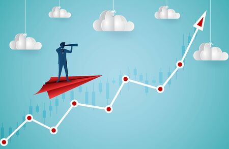 One Businessman standing holding binoculars on a paper plane flying up into the sky while flying above a arrow graph. business finance success. leadership. startup. creative idea. cartoon vector 矢量图像