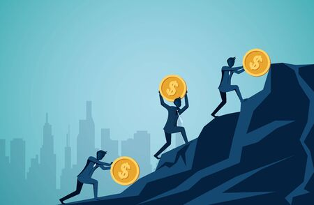 Businessman competing rolling and push icon dollar coin uphill on the mountain to the goal of success. creative idea. leadership. illustration cartoon vector