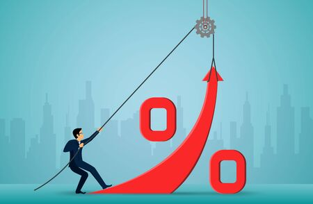 business Investment concept. Businessmen use the rope to pull the red arrow to change the direction to the ultimate success goal. creative idea. illustration cartoon vector Illustration