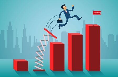 business finance concept. Businessmen jumping from springboard go to flag red on bar graph. creative idea. illustration cartoon vector Stock fotó - 129106569