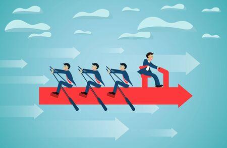 business teamwork on rowing arrow on sky success goal. creative idea. startup. illustration cartoon vector