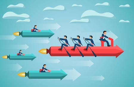 business teamwork on rowing arrow on sky success goal. creative idea. competing concept. startup. illustration cartoon vector Illustration