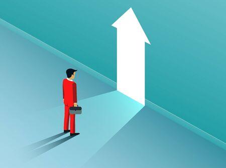 businessman standing in front of open arrow door with bright light. business finance success concept. creative idea. leadership. startup. illustration cartoon vector