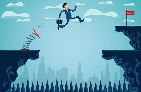 Les hommes d'affaires qui sautent du tremplin de l'autre côté de la falaise se dirigent vers l'objectif de réussite de l'entreprise pour surmonter les obstacles pour la cible ultime. Commencez. vecteur de dessin animé illustration Vecteurs