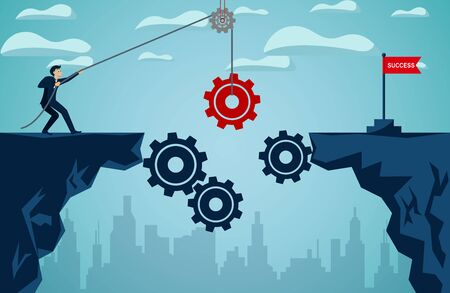 business finance success concept.  businessman who pull the red gear With rope to be a bridge leads to the goal red flag. So that the organization can be driven. illustration cartoon vector