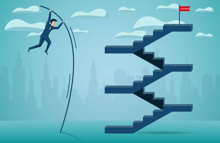 Businessmen are jumping using Wood to help go to the red flag target on the stairs. to overcome obstacle for the ultimate goal. business finance success. illustration cartoon vector