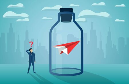 Businessman standing looking the red paper plane stuck in a glass bottle. Finding a solution and solving problems concept. business startup concept, creative idea, illustration cartoon vector 일러스트
