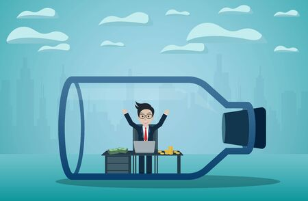 Businessmen sitting on a desk with lots of money in a glass bottle. Finding a solution and solving problems concept. business startup concept, creative idea, illustration cartoon vector Archivio Fotografico - 129109581