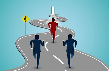 Leadership concept. Businessmen running competition on a winding road. go to success goals. business finance concept. creative idea. illustration cartoon vector