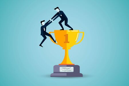 Business teamwork concept. One businessman is helping to pull one more person up on the trophy. to achieve the ultimate goal. business finance success. illustration cartoon vector