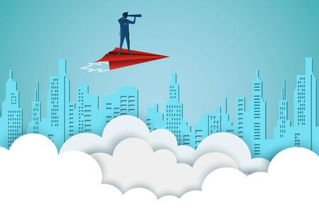 Businessmen standing holding binoculars on a red paper plane while flying above a city and cloud. go to target business success. startup. leadership. illustration cartoon vector