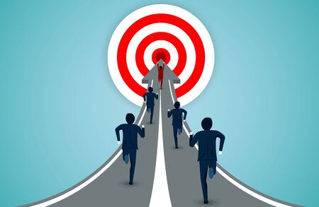 Leadership concept. Businessmen are running competition on the arrow to the red circle target. business finance concept. creative idea. startup. illustration cartoon vector