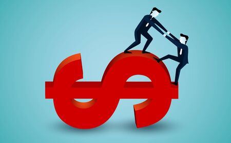 Business teamwork concept. businessman is helping to pull one more person up to on the red Icon words symbol dollar . to achieve the ultimate goal. illustration cartoon vector