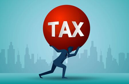 Illustration of one business person who is carrying a burden of tax. cartoon vector