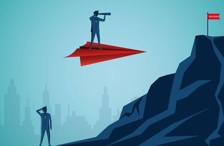 Businessmen standing holding binoculars on a red paper plane go to target on the Mountain peaks. business finance success. leadership. startup. illustration cartoon vector