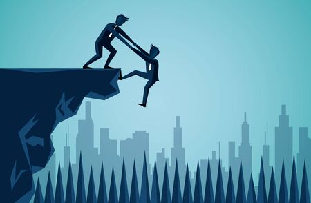 Business teamwork. one businessman is helping to pull one more person up to on cliff. to achieve the ultimate goal. Unity in the organization. illustration cartoon vector