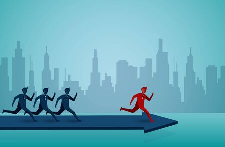 Businessman runing competition on the arrow blue . go to target business success. Move forward to the goal. leadership. creative idea. startup. illustration cartoon vector
