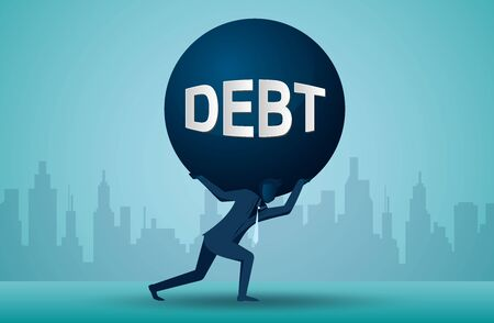 Illustration of one business person who is carrying a burden of debt. cartoon vector