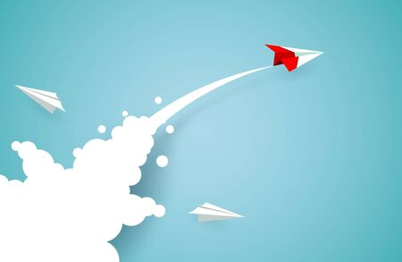 Red paper plane changing direction from white up to the sky. new idea. different business concepts. Courage to risk. leadership. illustration cartoon vector