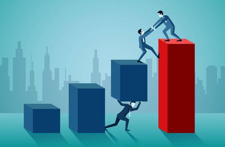 Business teamwork. One businessman is helping to pull one more person up to on the red bar graph. to achieve the ultimate goal. illustration cartoon vector