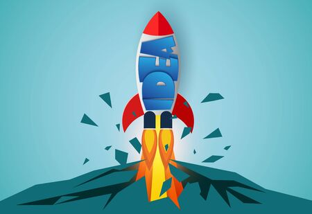 think outside the box. space shuttle launch to the sky. startup business concept . creative iead. icon rocket. leadership. illustration cartoon vector