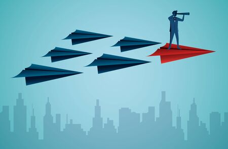 Businessmen standing holding binoculars on a red paper plane while flying above a city. go to target business success. startup. leadership. illustration cartoon vector