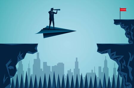 One Businessmen standing holding binoculars on a paper plane while flying above a city Across the cliff to the red flag target. go to target business success. startup. illustration cartoon vector Ilustracja