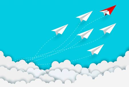 paper plane red and white competition charged up to the sky while flying above a cloud. business finance success. leadership. creative idea. startup. illustration cartoon vector Illusztráció