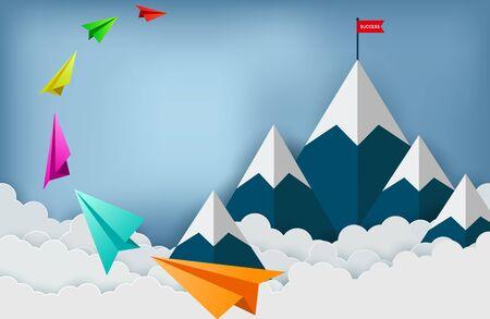 Un avion en papier vole vers la cible du drapeau rouge sur les montagnes tout en volant au-dessus d'un nuage. succès de la finance d'entreprise. leadership. Commencez. idée créative. vecteur de dessin animé illustration