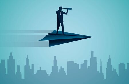 One Businessmen standing holding binoculars on a paper plane while flying above a city. go to target business success. startup. illustration cartoon vector