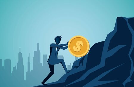 Businessman rolling and pushing dollar coin uphill on the mountain to the goal of success. leadership. illustration cartoon vector Stock Illustratie