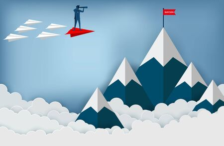 Businessmen standing holding binoculars on a red paper plane go to the red flag target on mountains while flying above a cloud. business finance success. leadership. startup. illustration cartoon vector Ilustracja