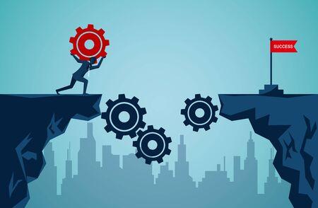Erfolgskonzept für die Unternehmensfinanzierung. Geschäftsmann, der das rote Zahnrad angehoben hat, um eine Brücke zu sein, führt zur roten Fahne des Ziels. Damit die Organisation vorangetrieben werden kann. Abbildung Cartoon-Vektor