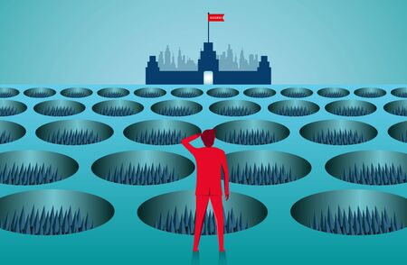 Businessmen are standing looking at the target with obstacles as deep holes blocking the path. going towards business success goal. leadership. creative idea. illustration cartoon vector