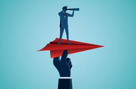 One Businessmen standing holding binoculars on a red paper plane with a human hand caught prepare to release to the goal.  business success. startup. leadership. illustration cartoon vector Ilustracja