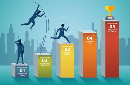 Businessmen competing go to trophy target on the bar graph. business finance success. leadership. startup. illustration cartoon vector