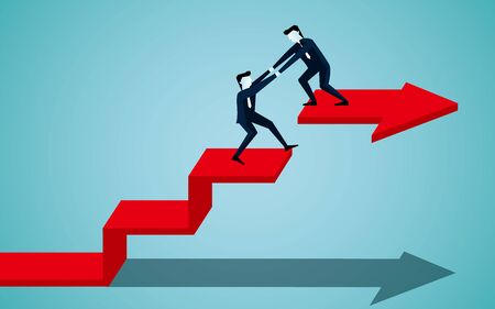 Business teamwork concept. businessman is helping to pull one more person up to on the red ladder arrow. to achieve the ultimate goal. illustration cartoon vector