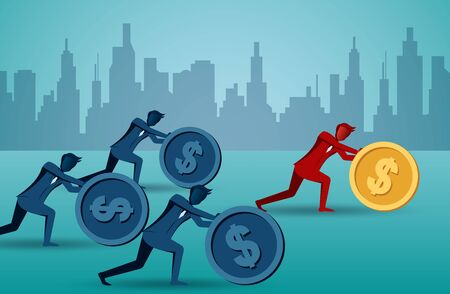 Businessman competition rolling and pushing dollar coin on the smooth to the goal of success. business finance. leadership. illustration cartoon vector Stock Illustratie