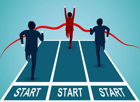 Leadership concept. Businessmen competition go to the finish line to success. business finance concept. creative idea. startup. illustration cartoon vector