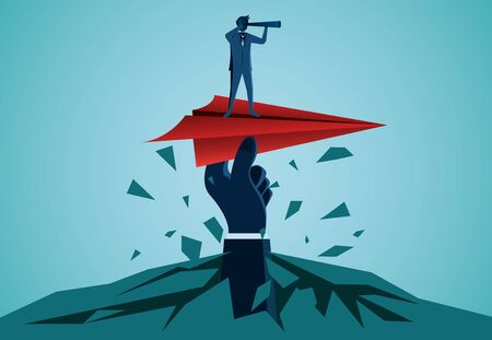 One Businessmen standing holding binoculars on a red paper plane with a human hand caught prepare to release to the goal. business success. startup. leadership. illustration cartoon vector