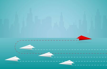 Red paper plane changing direction from white. new idea. different business concept. courage to risk. leadership. on background blue. illustration cartoon vector Ilustrace