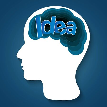 Human head creative idea brain icon. spark success in business. isolated blue background. vector illustration